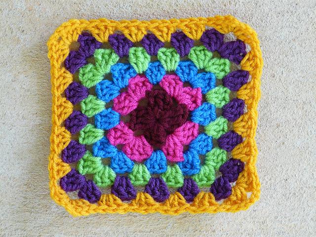 six round multicolor granny square