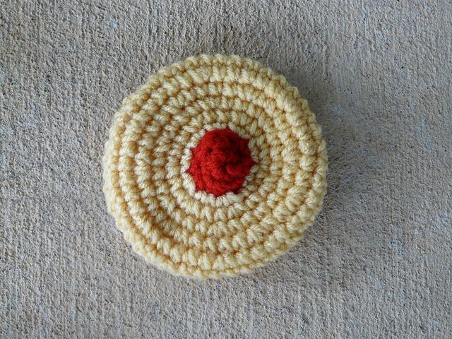 cherry wink crochet cookie