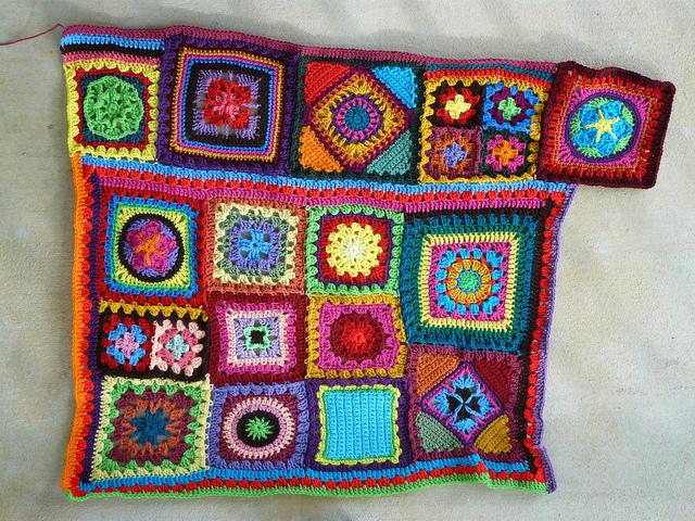 Crochet square granny square blanket