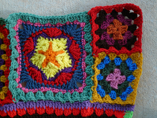 join as you go crochet multicolor crochet granny squares