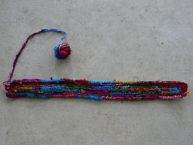 crochet rag rug in shadow