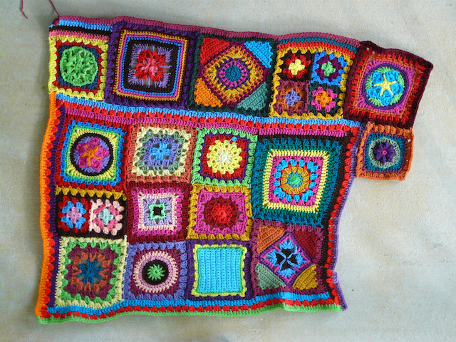 join as you go crochet granny square blanket