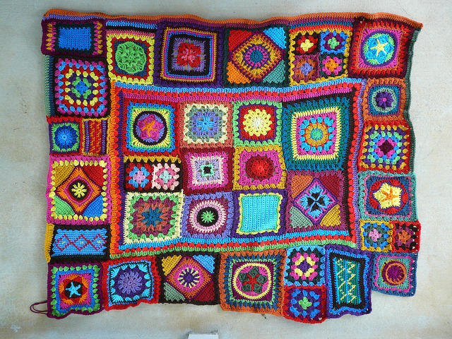 And then there were no more squares to join: the future crochet beach blanket with all of the squares assembled and joined