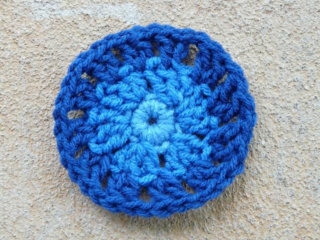blue crochet circle