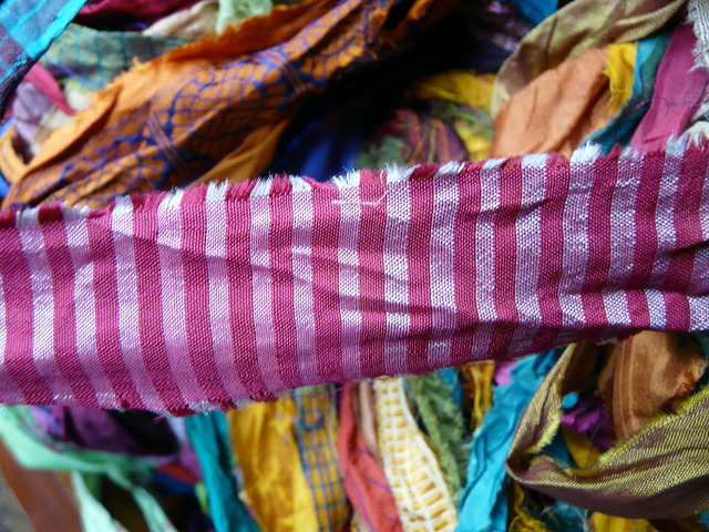Another interesting fabric pattern in the sari silk ribbons