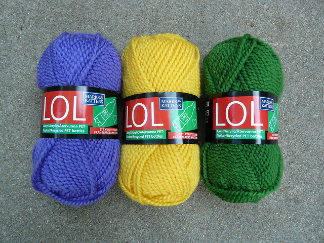 LOL from Marks & Kattens in purple, yellow, and green