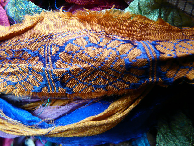 One of the interesting fabric patterns in the sari silk ribbons