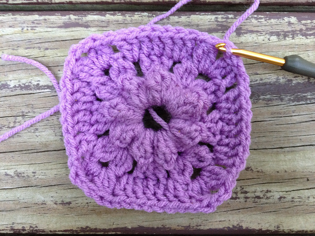 the third round of  textured crochet square 56