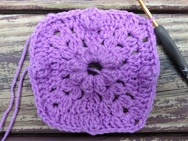 the fourth round of textured crochet square 56