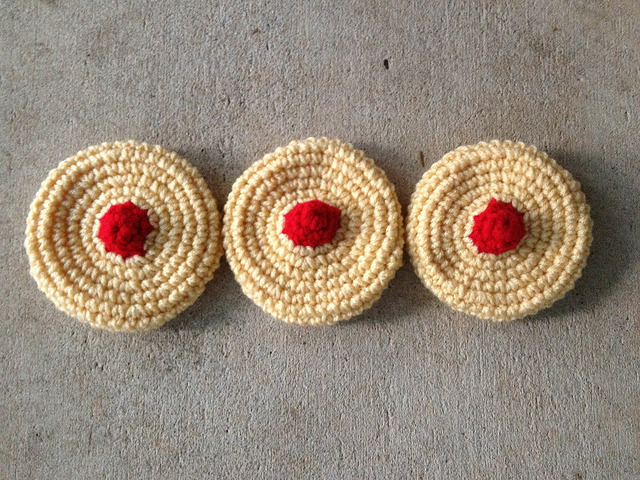 three crochet cookies