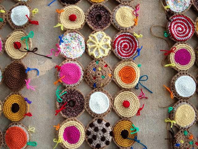 detail of crochet cookies
