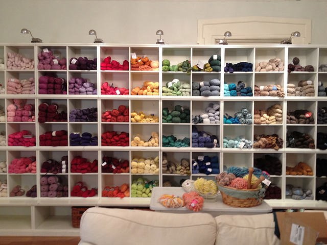 A wall of color in yarn