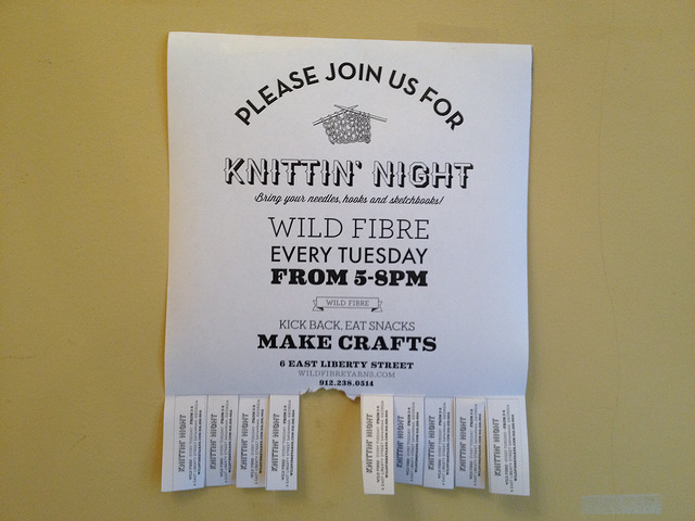 Flyer for Knittin' Night at wild fibre