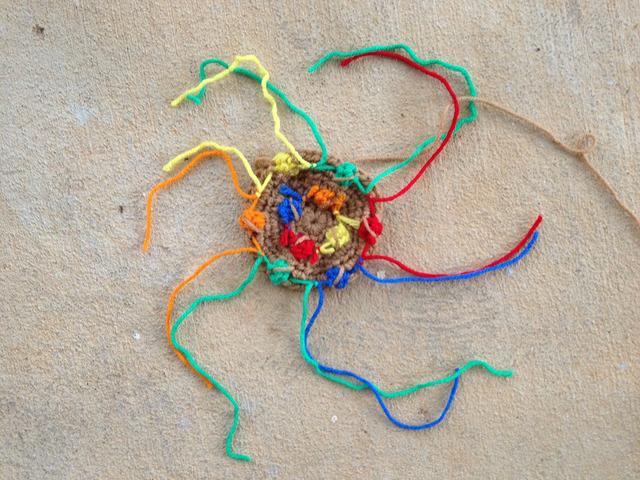 M & M crochet cookie