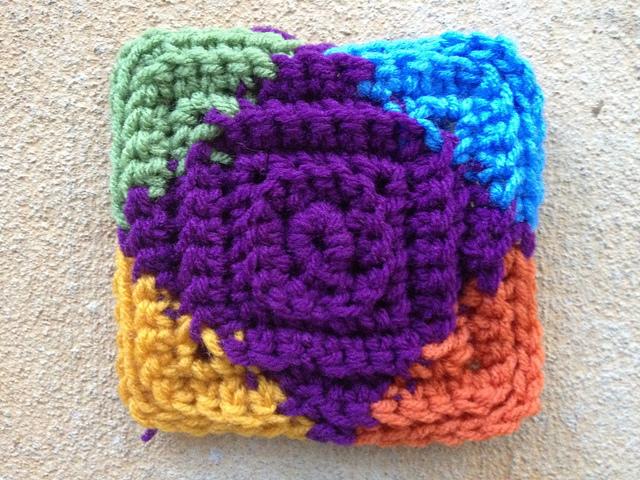 A multicolor textured crochet square