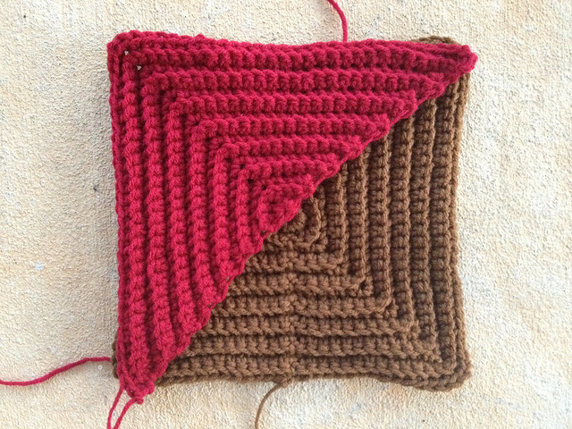 textured crochet triangle and textured crochet square
