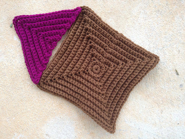 small textured crochet triangle and large textured crochet square