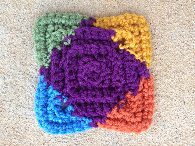 Textured crochet square with the ends woven in