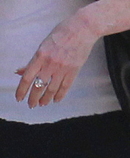 Melanie Griffith out walking with her diamond ring