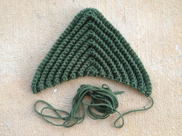 large textures crochet triangle in medium thyme