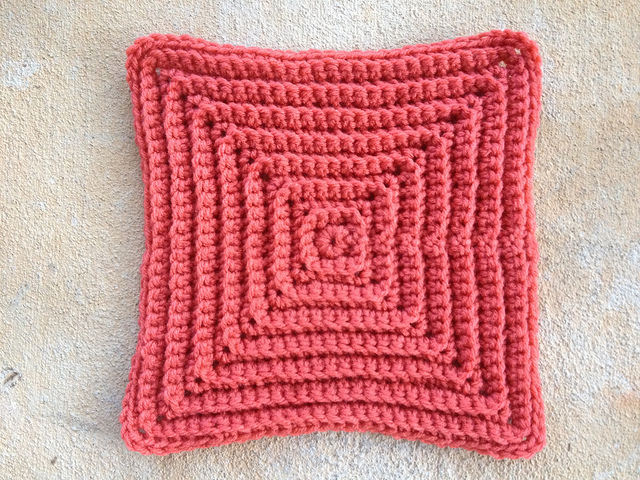 texture crochet square in coral