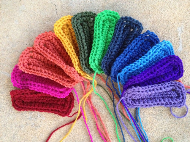 A rainbow of textured crochet rectangles