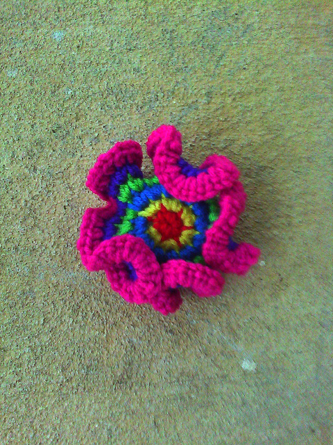 Round 6 of a crochet hyperbolic plane around a point