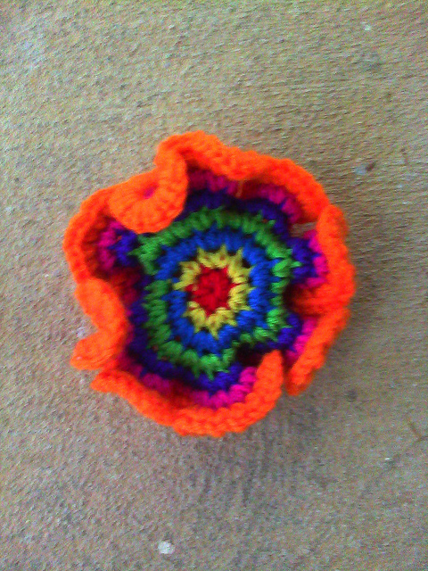 Round 7 of a crochet hyperbolic plane around a point