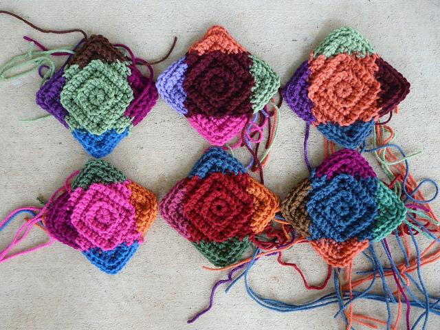 six crochet square centers