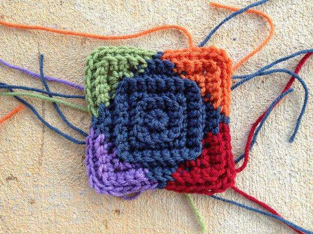 multicolor crochet square motif