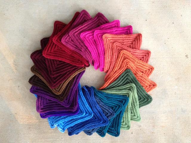 textured crochet square color wheel