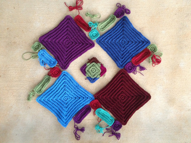 eight textured crochet rectangles
