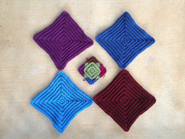 one multicolor medium crochet square