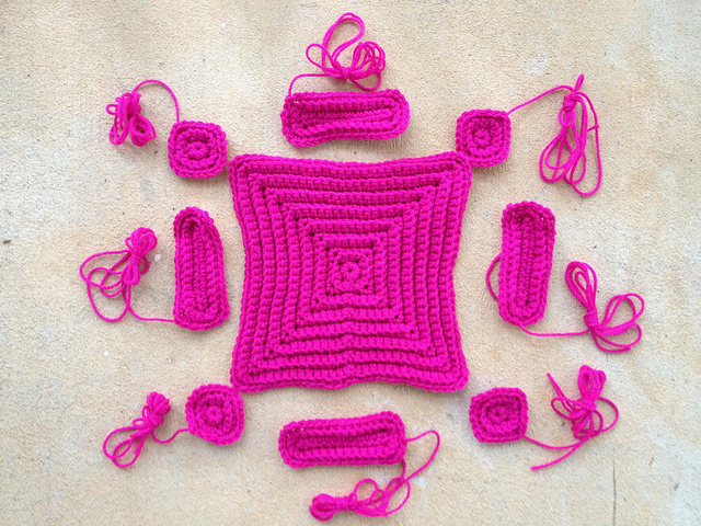 textured crochet squares and textured crochet rectangles