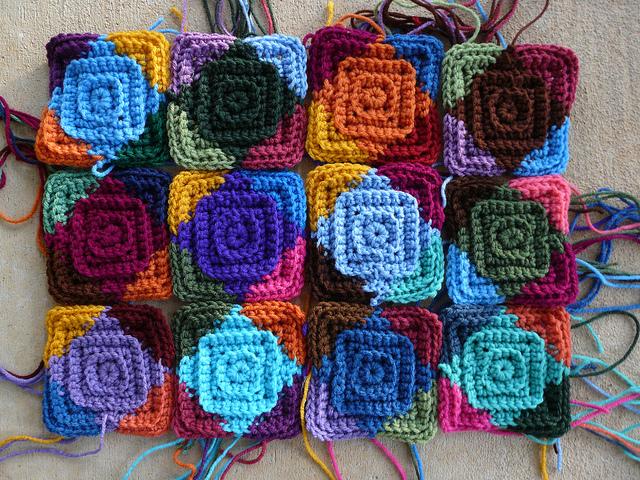 twelve textured crochet squares