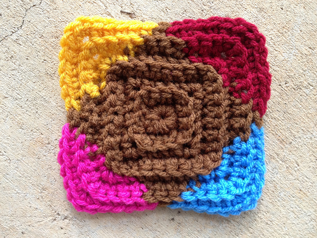 textured crochet square motif