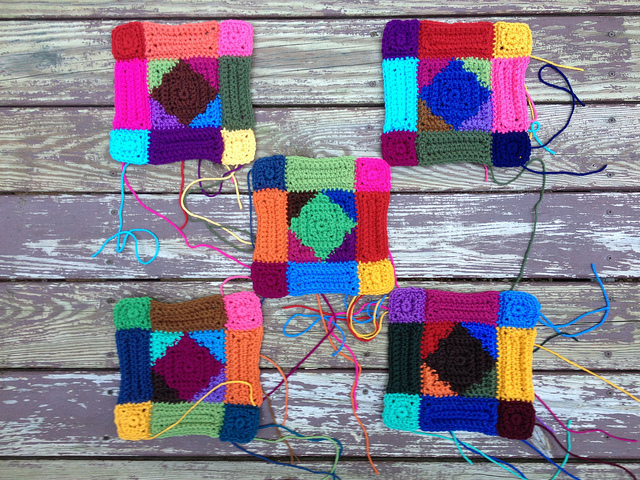 textured crochet square motifs