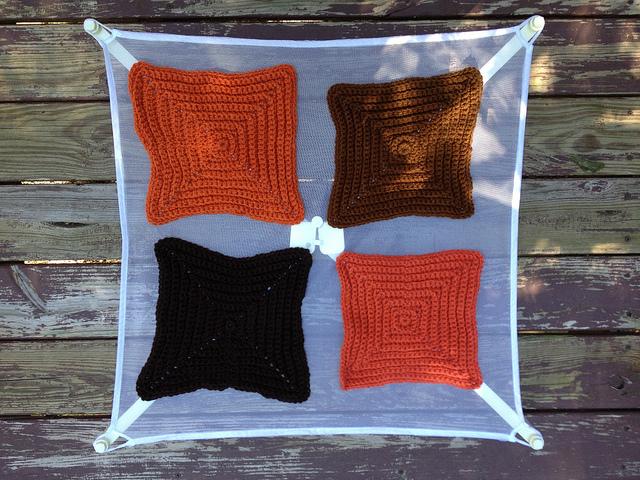 single color textured crochet squares