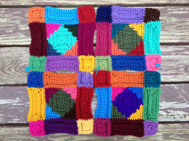 crochetbug, crochet squares, textured crochet, crochet rectangles, textured crochet motifs, crochet blanket, textured crochet afghan, textured crochet throw