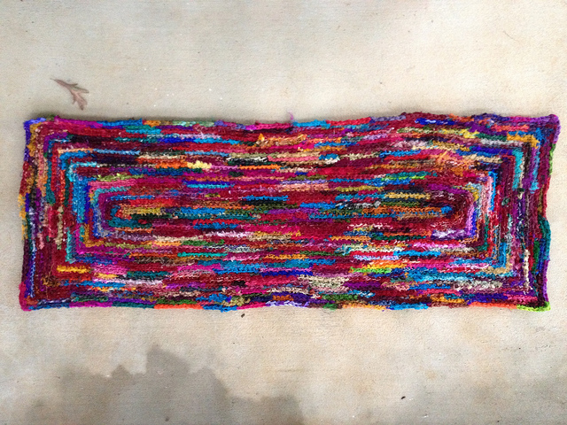 sari ribbon crochet throw rug