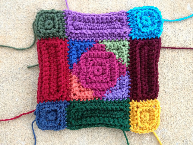 mutlicolor textured crochet square motif
