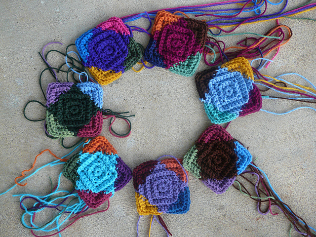 I make some hay with seven more multicolor textured crochet centers