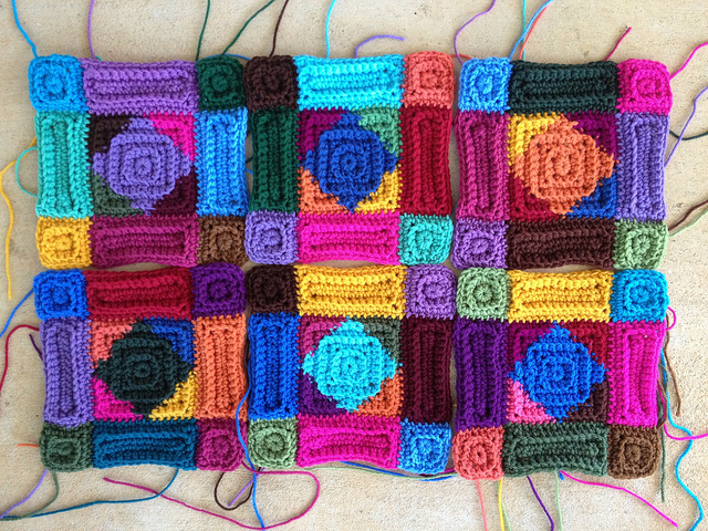 six of ten multicolor crochet motifs made from crochet squares and crochet rectangles