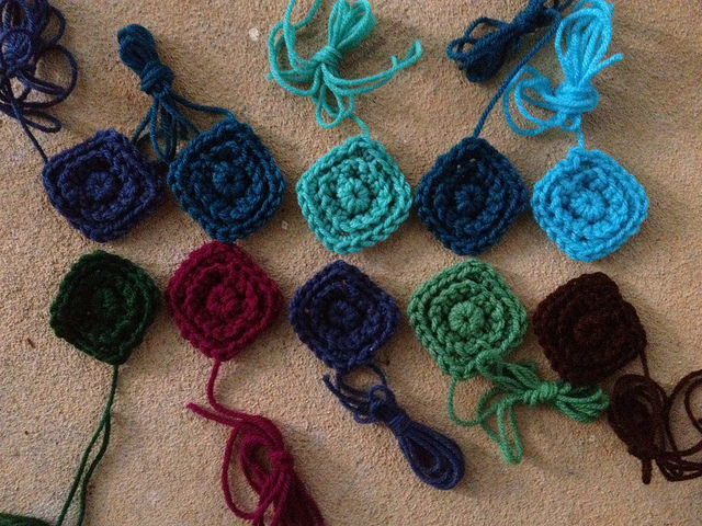 small textured crochet squares