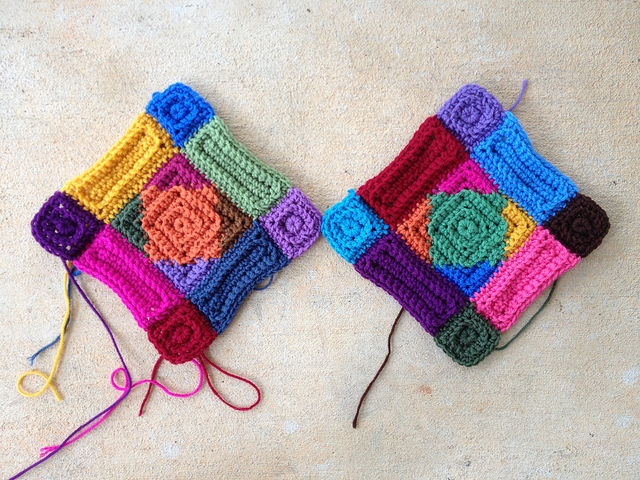 two multicolor textured crochet squares on a motif Monday