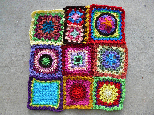 A portion of the center panel of the Granny Sampler Afghan