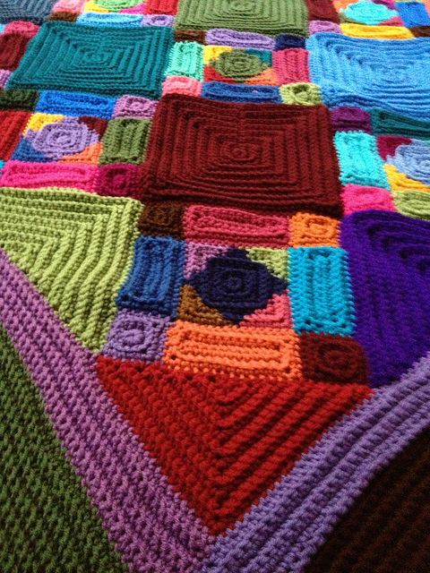 A detail of the texture of a crochet blanket