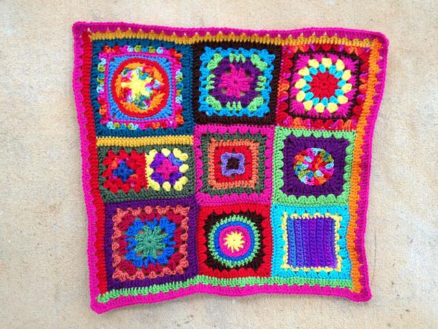 A sampler of crochet squares for a granny square fat bag