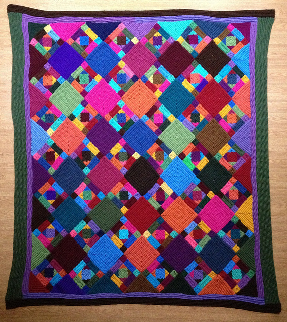 Multicolor crochet blanket with texture crochet squares, crochetbug, crochet squares, crochet rectangles, crochet triangles