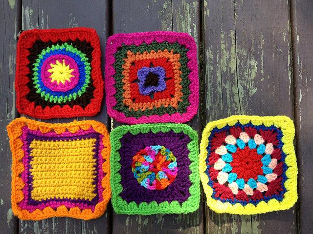 Five crochet squares for a future granny square fat bag